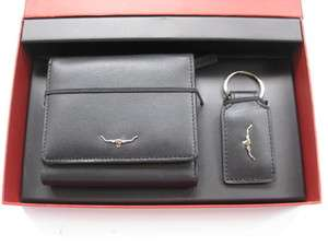 Williams Mens Black Leather Tri Fold Wallet and Leather Key Ring Set
