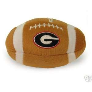 U of Georgia Bulldogs Plush Squeaker Football Dog Toy