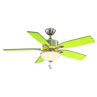 Hampton Bay Santa Cruz 52 in.Brushed Nickel with Green Accents Ceiling