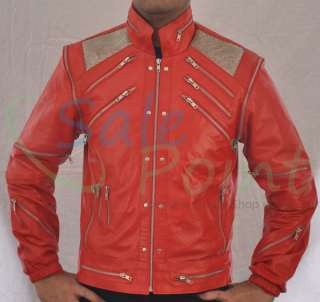 Michael Jackson Beat IT Red Faux PU Leather Jacket