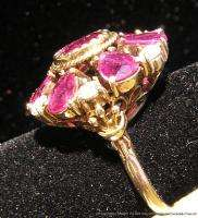 Antique Estate Art Deco Jewelry 14k Gold Ring 2.2ctw Rubies + .41ctw