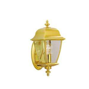 Hampton Bay Wall Mount Outdoor Polished Brass Lantern HD121801 at The