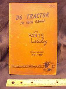 1948 CAT Caterpillar D6 Tractor Parts Manual Book ORIG