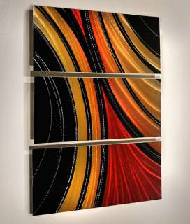 Modern Abstract Aluminum Metal Wall Art Painting Red Gold Black
