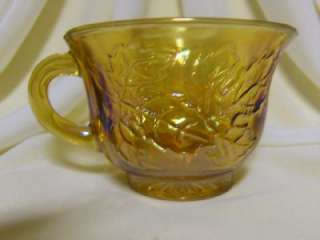 INDIANA CARNIVAL GLASS HARVEST GRAPE AMBER MARIGOLD PUNCH CUPS MUGS