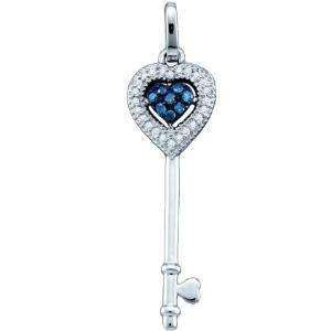 LADIES WHITE GOLD BLUE DIAMOND KEY LOCK CHARM PENDANT