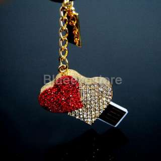 Fashion 4GB Charm Crystal Heart keychain USB 2.0 Flash Memory Pen