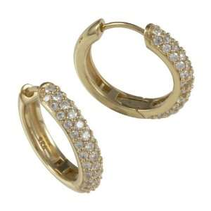 Gold Plated Sterling Silver White CZ Large Hoop Earrings Jewelry