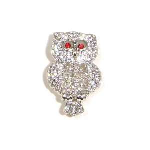 and Red Austrian Rhinestone Owl Bird Silver Plated Brooch Pin Jewelry