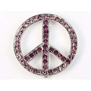Rhinestone Peace Sign Pin Fashion Jewelry Brooch Necklace Pendant