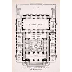 1911 Wood Engraving Second Floor Plan Building