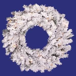 20 Pre Lit Flocked Alaskan Artificial Christmas Wreath   Clear Lights
