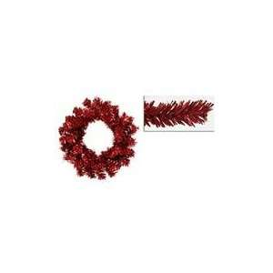 Red Tinsel Artificial Christmas Wreaths   Unlit