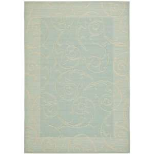 Aqua and Cream Indoor/Outdoor Area Rug, 8 Feet by 11 Feet 2 Inch