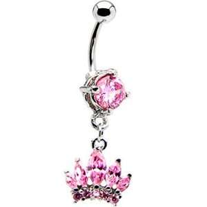 Pristine Pink Cubic Zirconia Crown Belly Ring Jewelry