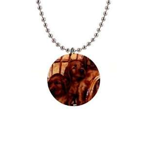 Irish Setter Puppy Dog Button Necklace B0694