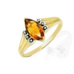 9ct Two Tone Gold Citrine & Diamond Ring Size 8.5 Jewelry