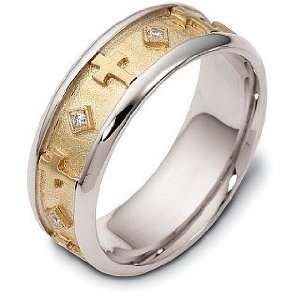 Yellow Gold Religious Diamond Wedding Band   7 Dora Rings Jewelry