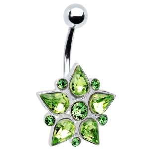 Green Gem Teardrop Flower Belly Ring Jewelry
