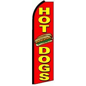 Hot Dogs Extra Wide Swooper Feather Business Flag Office