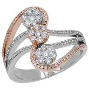 0.67 Carat 18kt Two Tone Gold Diamond Ring Jewelry