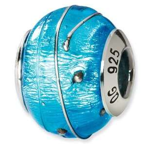 925 Sterling Silver Blue Italian Murano Glass Bead Jewelry