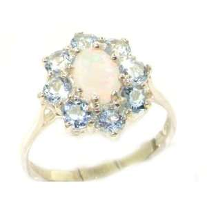 Luxury Ladies Solid White Gold Natural Opal & Aquamarine Cluster Ring
