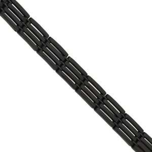 Mens Stainless Steel Black Plated Link Bracelet Jewelry
