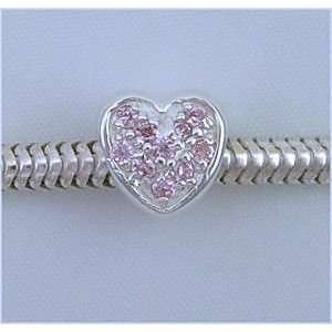LIGHT PINK ROSE HEART 925 Silver Charm Bead for Troll