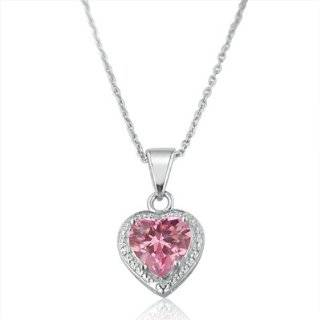 Created Ruby and Created Pink Sapphire Heart Pendant, 18 Jewelry