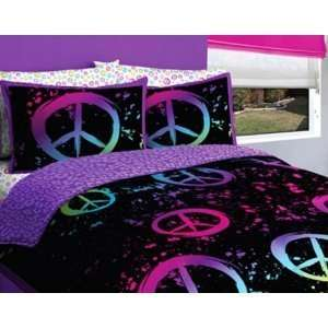 9pc Girl Black Pink Green Purple Peace Sign Queen