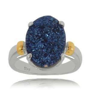 Sterling Silver Midnight Blue Drusy Quartz Ring with