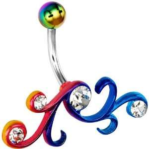 Rainbow Gem Tribal Belly Ring Jewelry