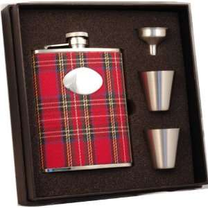 Red Plaid Stainless Steel 6oz Deluxe Flask Gift Set