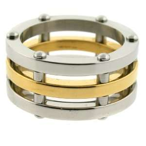 Stainless Steel Gold Plated Ring 316L New Design Polish Finish 9.5mm