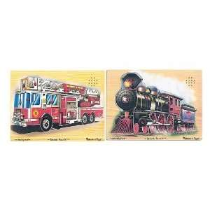 & Doug Train and Fire Truck Sound Puzzles  Toys & Games