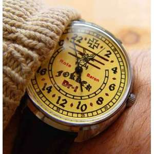 GERMAN WWI PILOT IRON CROSS FOKKER 24 HOURS DIAL MECHANICAL WRISTWATCH