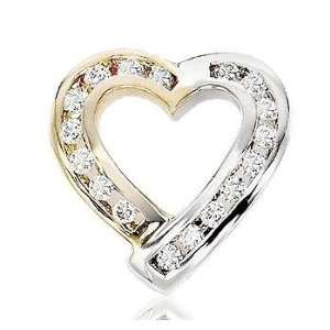 1/3 Carat Diamond 14k Two Tone Gold Heart Jewelry