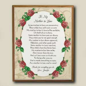 To My Mother In Law Personalized Printed Plaque