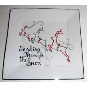 Dashing Through the Snow   Christmas Holiday Fine China Plates
