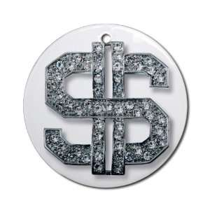 Ornament (Round) Bling Dollar Sign