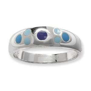 Esse Collection Silver Blue Enamel Ring Size 8.5 Jewelry