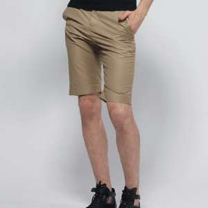 DOUBLJU Mens Casual Trousers Shorts Pants BROWN (F023)