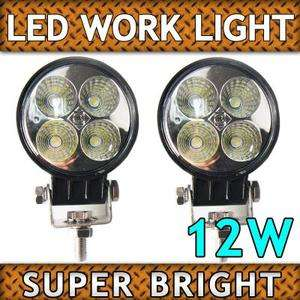 2X Black 12W LED Driving Work light Lamp for Tractor Truck Car Boat
