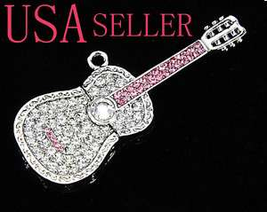 8GB Jewel Guitar Crystal Necklace USB Flash Drive